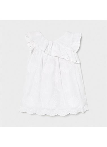 Mayoral Mayoral Kiz Bebek Nakışlıelbise Beyaz 20854 Beyaz